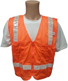 Orange MESH Surveyors Safety Vest with Silver Stripes and Pockets Front