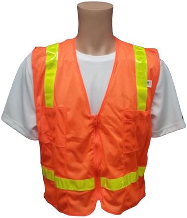 MESH Surveyors Safety Vest Orange Lime Stripes Front