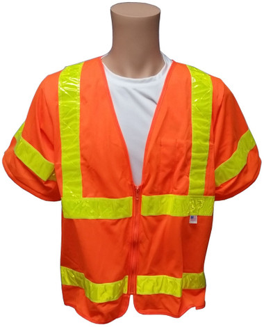 ANSI 2004 SLEEVED Class 3 Double Stripe Orange Safety Vests - Lime Stripes