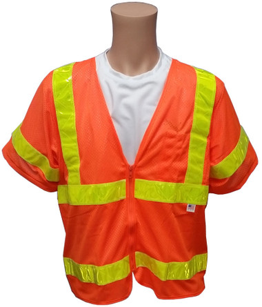 ANSI 2004 SLEEVED Class 3 Double Stripe Orange Mesh Safety Vests - Lime Stripes