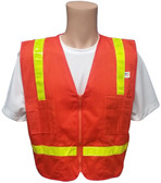 Surveyors Safety Vest Orange with Lime Stripes Front View