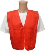 Orange Plain Safety Vests with Pockets Front