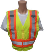 ANSI 207-2006 Public Service Safety Vests ~ Lime with Orange/Silver Stripes ~ Front View