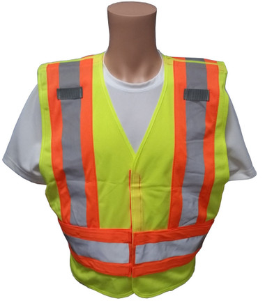 ANSI 207-2006 Public Service Safety Vests ~ Lime with Orange/Silver Stripes