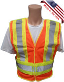 ANSI 207-2006 Public Service Safety Vests ~ Orange with Lime/Silver Stripes ~ 5 point Velcro Tear-Away Main pic