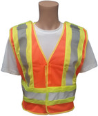 ANSI 207-2006 Public Service Safety Vests ~ Orange with Lime/Silver Stripes ~ 5 point Velcro Tear-Away