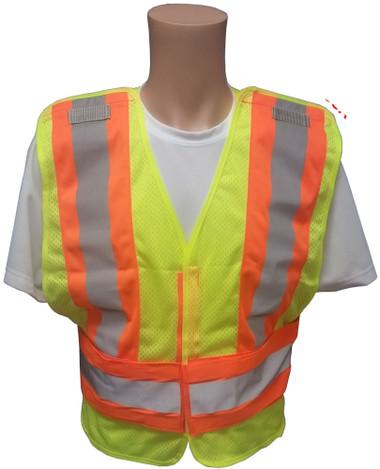 ANSI 207-2006 Public Service Safety Vests ~ Mesh Lime with Orange/Silver Stripes