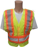 ANSI 207-2006 Public Service Safety Vests ~ Mesh Lime with Orange/Silver Stripe