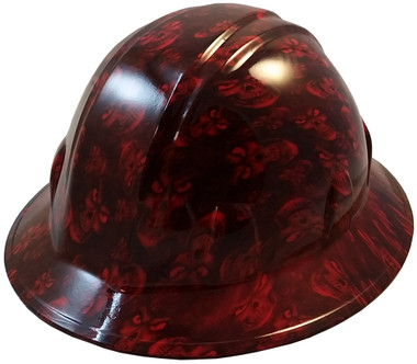 Hades Small Skull Red Hydro Dipped Hard Hats Full Brim Design ~ Oblique View