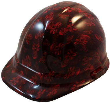 Hades Small Skull Red Hydro Dipped Hard Hats Cap Style Design ~ Oblique View