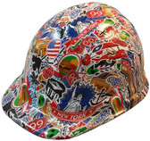 Route 66 Sticker Bomb Hydro Dipped Hard Hats, Cap Style ~ Oblique View