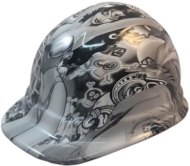 Bad Bones Hydro Dipped Hard Hats Cap Style Design ~ Oblique View