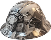 Bad Bones Hydro Dipped Hard Hats Full Brim Style ~  Oblique View