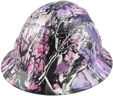 Glamour Camo Pink Hydro Dipped Hard Hats Full Brim Style Design - Oblique View