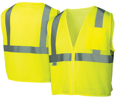 Pyramex Class 2 Hi-Vis Mesh Lime Safety Vests w/ Silver Stripes
