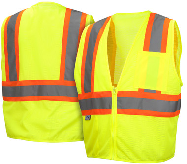 Pyramex Class 2 Hi-Vis Stripe Mesh Lime Safety Vests w/ Contrasting Stripes