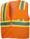 Pyramex Class 2 Self Extinguishing Hi-Vis Mesh Orange Safety Vests w/ Contrasting Stripes ~ Front View