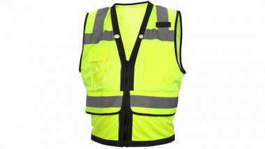 Pyramex Class 2 Hi-Vis Lime Safety Vests with Black Trim and 8 Pockets ~ Front View