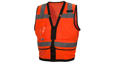 Pyramex Class 2 Hi-Vis Orange Safety Vests with Black Trim and 8 Pockets (RVZ2820) Front View