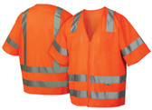 Pyramex Class 3 Hi-Vis Mesh Orange Safety Vests w/ Silver Stripes