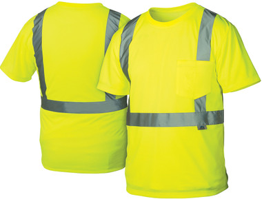 Pyramex Class 2 Hi-Vis Lime T-Shirts, 1 Pocket w/ Silver Stripes