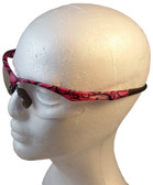ERB Annie Safety Glasses with Pink Camo Design and Clear Lens ~ Right Side View