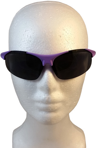 ERB Ella Safety Glasses with Purple Frame and Smoke Lens ~ Front View