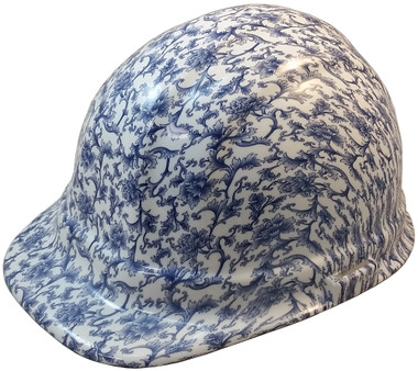 Blue Floral Hydro Dipped Hard Hats Cap Style Design ~ Oblique View