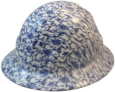 Blue Floral Hydro Dipped Hard Hats Full Brim Style ~ Oblique View