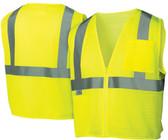 Pyramex Class 2 Hi-Vis Mesh Lime Safety Vests w/ Silver Stripes