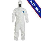 DuPont TYVEK Nonwoven Fiber Coveralls With Hood, Elastic Wrists and Ankles