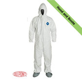 DuPont TYVEK Nonwoven Fiber Coveralls With Hood, Elastic Wrists and Ankles ~ Front View