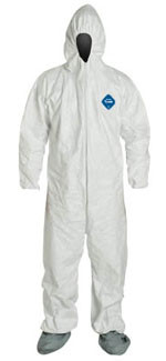DuPont TYVEK ~ Nonwoven Fiber Coveralls ~ With Hood Boots and Elastic Wrists ~ (5 SUIT SAMPLE PACK)