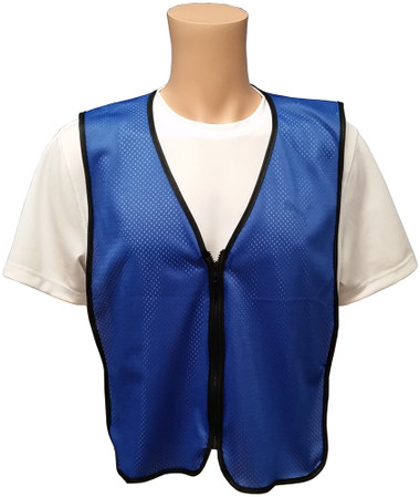 Royal Blue Soft Mesh Plain Safety Vest with Zipper Front Main