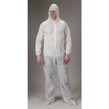 Polypropylene Coveralls w/ Hood, Boots, Elastic Wrists   pic 1
