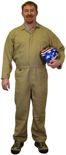 Indura Cotton Khaki Flame Resistant Coveralls  pic 1