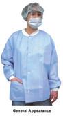 Polypropylene Lab Jacket Blue w/ 3 Pockets. Snap Front   pic 2