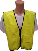 Lime Plain Solid Material Safety Vests with Pockets Main