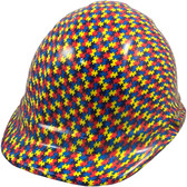Autism Puzzle Hydro Dipped Hard Hats Cap Style Design - Oblique View