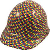 Autism Puzzle Hydro Dipped Hard Hats Cap Style Design - Oblique View