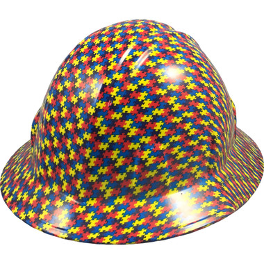 Autism Puzzle Hydro Dipped Hard Hats Full Brim Design - Oblique View