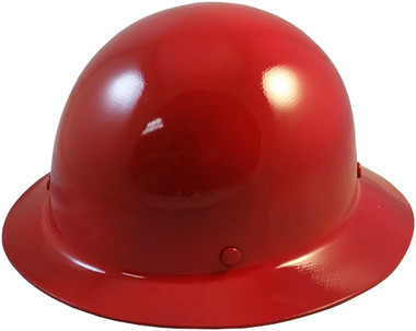 MSA Skullgard Full Brim Hard Hat with FasTrac III Ratchet Suspension - Red  Oblique View