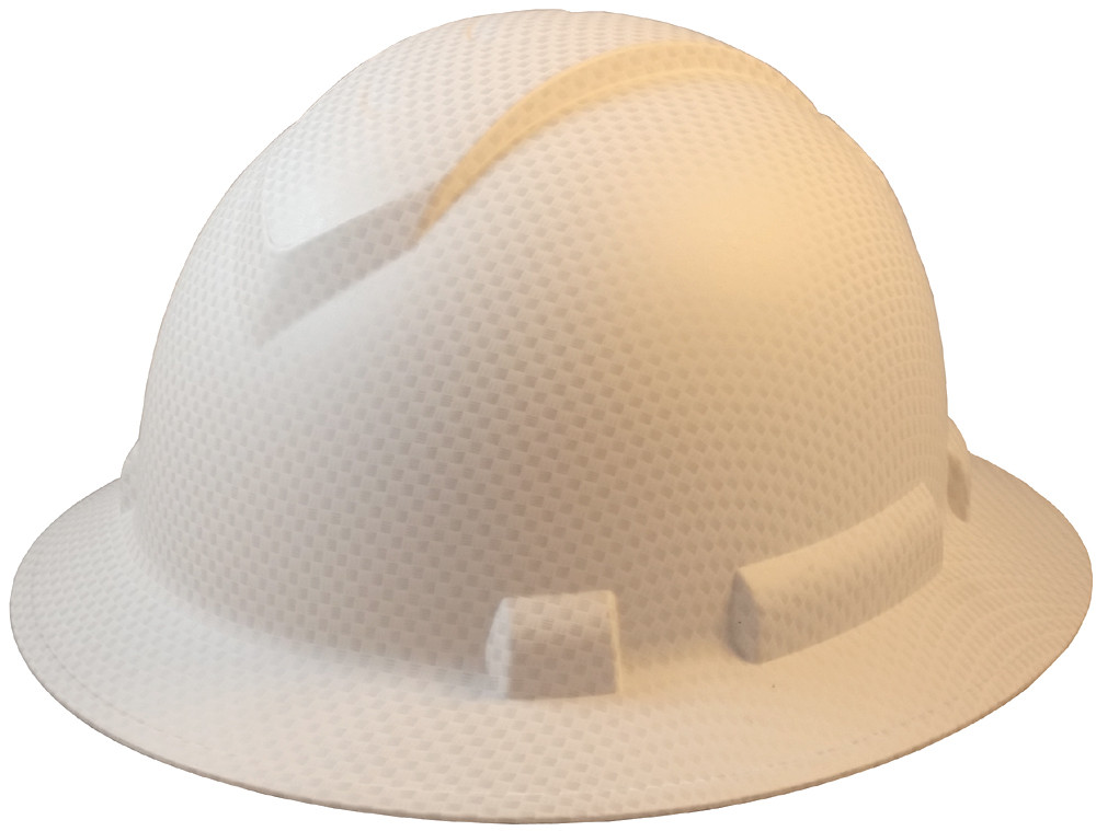 ... Pyramex Ridgeline Full Brim Style Hard Hat with White Graphite Pattern  - 4 Point Suspensions. Oblique View. Loading zoom 168774735dad