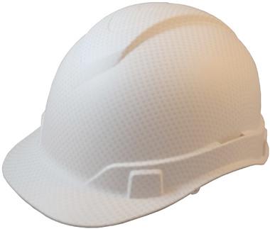Oblique View Pyramex Ridgeline Cap Style Hard Hat with White Graphite Pattern