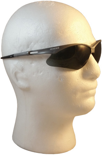 Jackson Nemesis SILVER Frame Safety Glasses with Fog Free Smoke ~ Right Side View