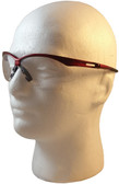 Jackson Nemesis Metallic Red Frame Safety Glasses with Fog Free Clear Lens ~ Left Side View