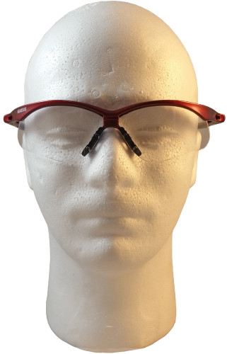 Jackson Nemesis Metallic Red Frame Safety Glasses with Fog Free Clear Lens ~ Front View