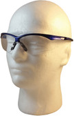 Jackson Nemesis Metallic Blue Frame Safety Glasses with Fog Free Clear Lens ~ Left Side View