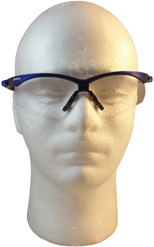 Jackson Nemesis Metallic Blue Frame Safety Glasses with Fog Free Clear Lens ~ Front View