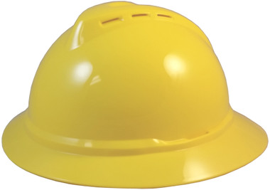 MSA Advance Full Brim Vented Hard hat with 4 point Ratchet Suspension Yellow - Oblique View